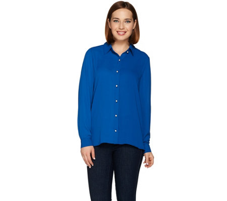 Susan Graver Feather Weave Button Front Long Sleeve Shirt