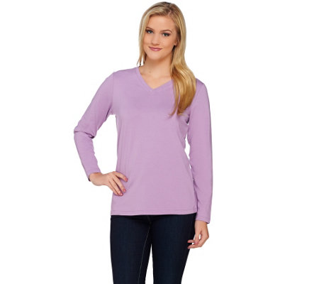 """As Is"" Denim & Co. Essentials Jersey V-neck Long Sleeve Top"