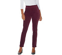 LOGO by Lori Goldstein Brushed Corduroy Slim Leg Pants - A279478