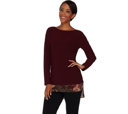 Susan Graver Textured Liquid Knit Tunic with Printed Trim