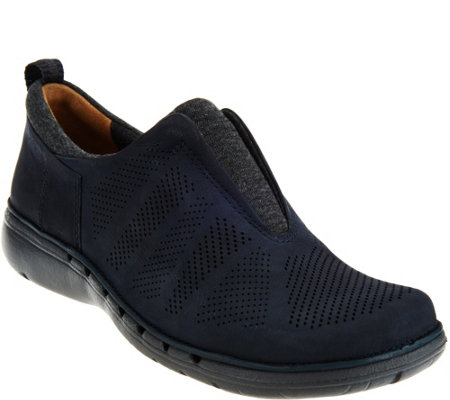 Clarks UnStructured Nubuck Leather Slip-on Shoes - Un.Spirit