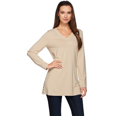 """As Is"" Susan Graver Dolce Knit Long Sleeve Tunic w/ Button Detail"
