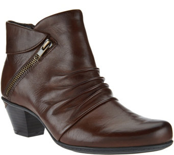 Earth Leather Ankle Boots with Ruching - Pegasus - A282878