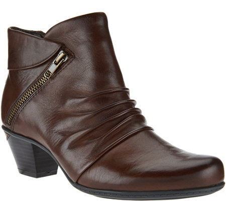 Earth Leather Ankle Boots with Ruching - Pegasus