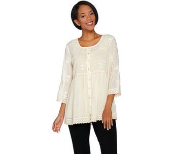 LOGO by Lori Goldstein Button Front Woven Blouse with Embroidery - A285378