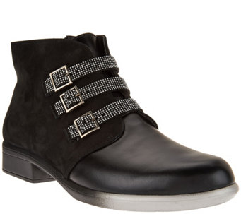 Naot Leather Ankle Boots w/ Buckle Detail - Vardar - A285478