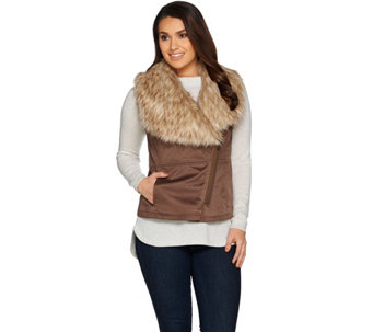 Lisa Rinna Collection Faux Suede Fur Collar Vest - A285578