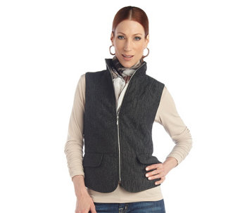 """As Is"" George Simonton Quilted Iridescent Jacquard Vest - A285878"