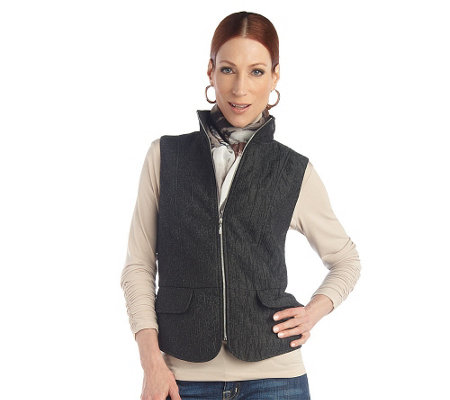 """As Is"" George Simonton Quilted Iridescent Jacquard Vest"