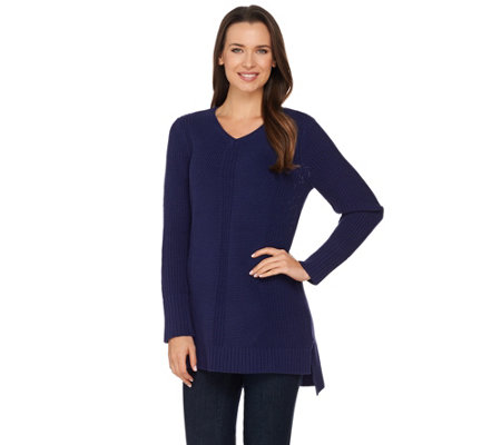 Isaac Mizrahi Live! Mixed Stitch V-neck Pullover Sweater Tunic