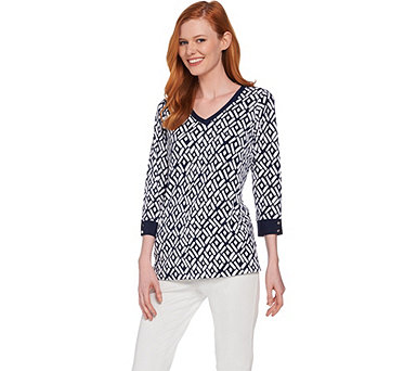 Susan Graver Printed Liquid Knit 3/4 Sleeve Top - A287678