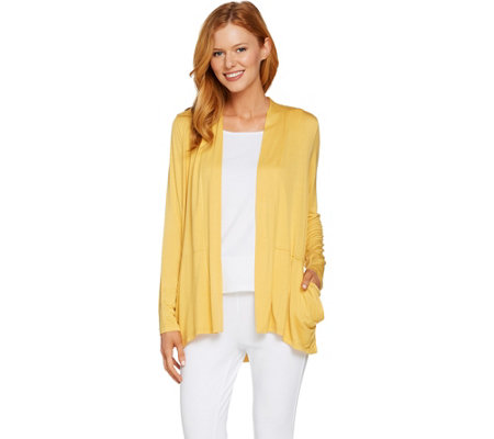 LOGO by Lori Goldstein Open Front Cardigan with Pleated Pockets