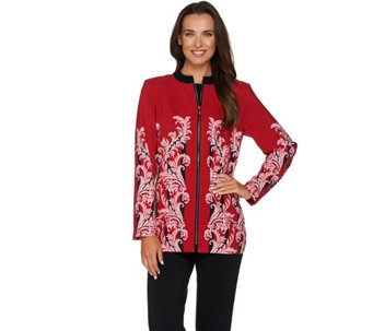 """As Is"" Bob Mackie's Zip Front Rococo Printed Moleskin Jacket - A293178"