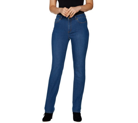 Susan Graver Petite Stretch Denim Straight Leg Fly Front Jeans