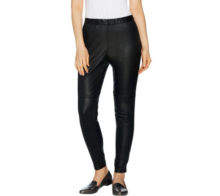 H by Halston Regular Stretch Leather Leggings