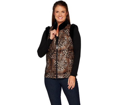 Bob Mackie's Leopard Print Vest with Faux Fur Trim