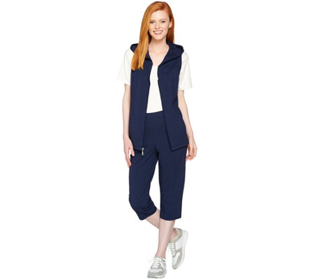 """As Is"" Denim & Co. Active French Terry Vest And Capri Pant Set"