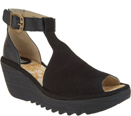 """As Is"" FLY London Perforated Leather Strap Wedges- Yehi"