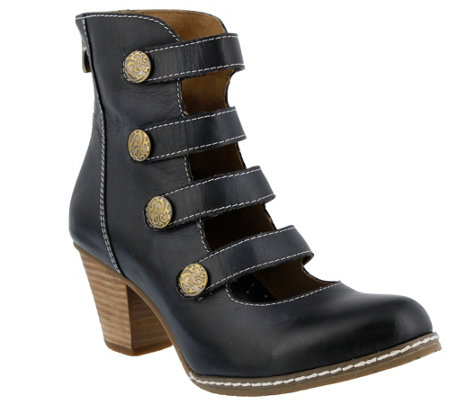 Spring Step L'Artiste Leather Booties - Anchor