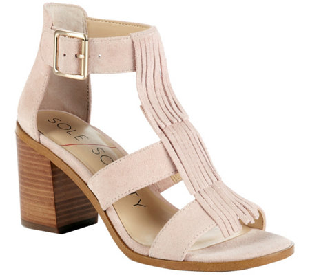 Sole Society Fringe Block Heel Sandals - Delilah