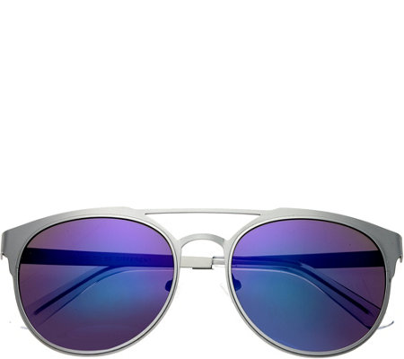 Breed Mensa Silvertone Titanium Sunglasses w/ Polarized Lenses