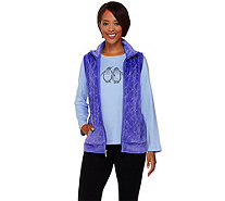 Quacker Factory Sparkle Velour Vest with Rhinestud Long Sleeve Tee - A92078