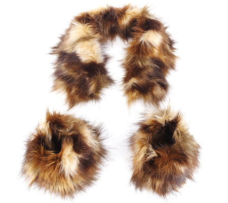 Fabulous Furs Faux Fur Collar and Boot Toppers Set by Donna Salyers
