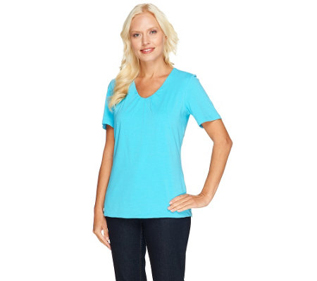 Susan Graver Essentials Stretch Cotton Gathered V-neck Top