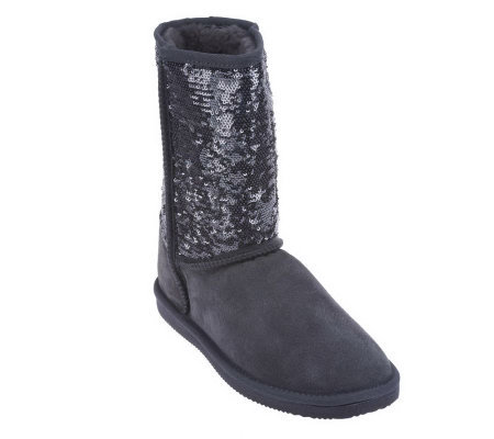 Lamo Suede Pull-on Boots - Sequin Girl - Page 1 — QVC.com