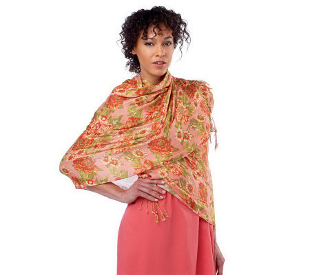 Isaac Mizrahi Live! Peony Blossom Printed Scarf with Fringe