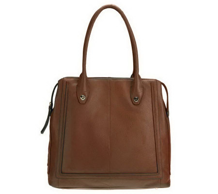 B. Makowsky Glove Leather ZipTop Magazine Tote with Rounded Handles