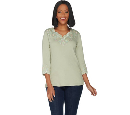 Quacker Factory Lacey Scallop Embroidered 3/4 Sleeve Top