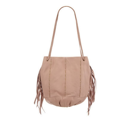 Kelsi Dagger Leather Charlie Drawstring Bag with Fringe and Chain