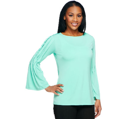 George Simonton Solid Milky Knit Top with Pleated Sleeves