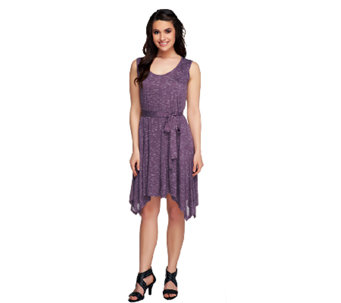 Lisa Rinna Collection Petite Angled Hem Tank Dress w/ Belt - A253379