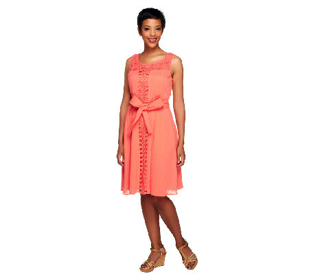 Isaac Mizrahi Live! Lace Detail Dress with Waist Tie