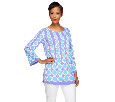 Bob Mackie's Circle Print Jersey Knit Long Sleeve Top