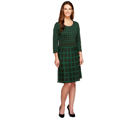 Isaac Mizrahi Live! Window Pane Jacquard Sweater Dress