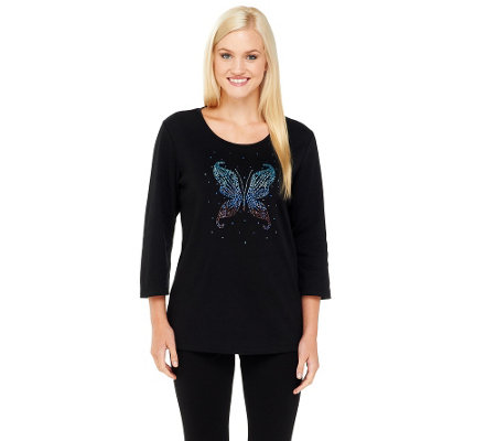 Quacker Factory Ombre Butterfly 3/4 Sleeve T-shirt