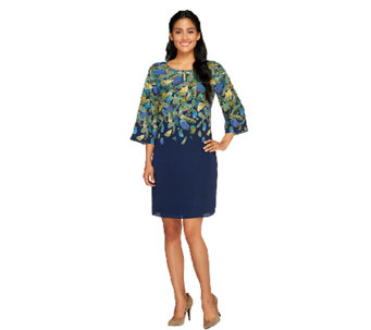 Isaac Mizrahi Live! Feather Printed 3/4 Sleeve Dress - A257379