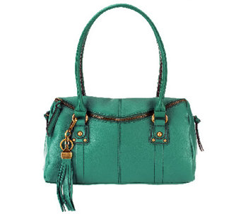"""As Is"" Tignanello Pebble Leather Zip Top Satchel - A257579"