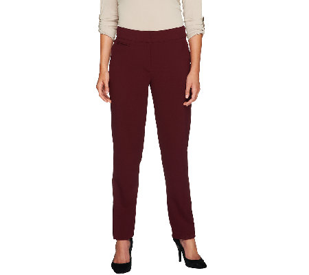 Susan Graver Regular Chelsea Stretch Contour Waist Zip Front Pants