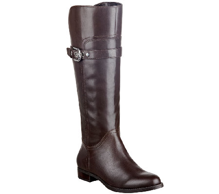 Marc Fisher Leather Wide Calf Riding Boots - Taite