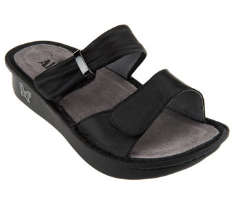 """As Is"" Alegria Karmen Leather Double Strap Slide Sandals - A258679"