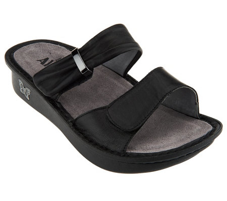 """As Is"" Alegria Karmen Leather Double Strap Slide Sandals"