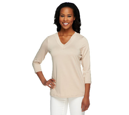 """As Is"" Susan Graver Essentials Butter Knit 3/4 Sleeve Top"