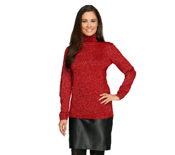 Susan Graver Turtleneck Sweater with Metallic Details - A259579