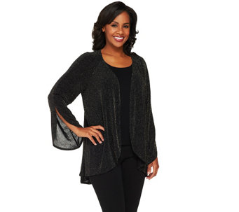 Bob Mackie's Glittered Open Front Cardigan - A260179