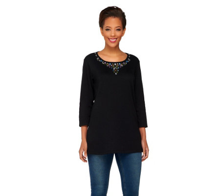 Quacker Factory Festive Jewels Long Sleeve Tunic