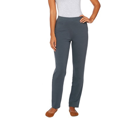 Susan Graver Weekend French Terry Straight Leg Pull-On Pants